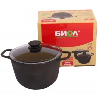 BIOL CAST-IRON CASSERROLE WITH GLASS LID 6L