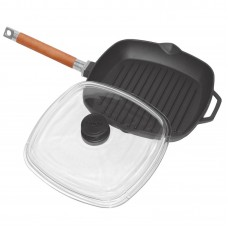 Grill-pan with detachable handle and glass lid 280*280mm